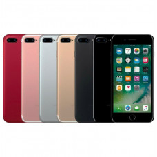 Red, Rose Gold, Silver, Gold, Black, and Jet Black Apple iPhone 7 Plus's aligned horizontally