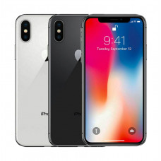 Black and Silver iPhone X A1865 aligned horizontally